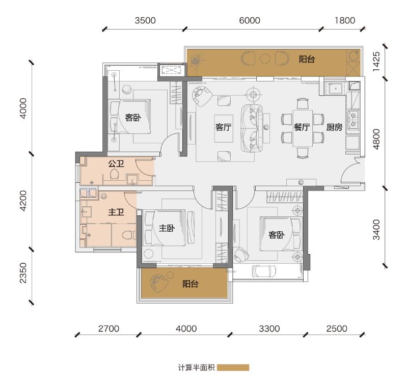 鲁能三亚湾3房2厅2卫 (建筑面积:113.00㎡)