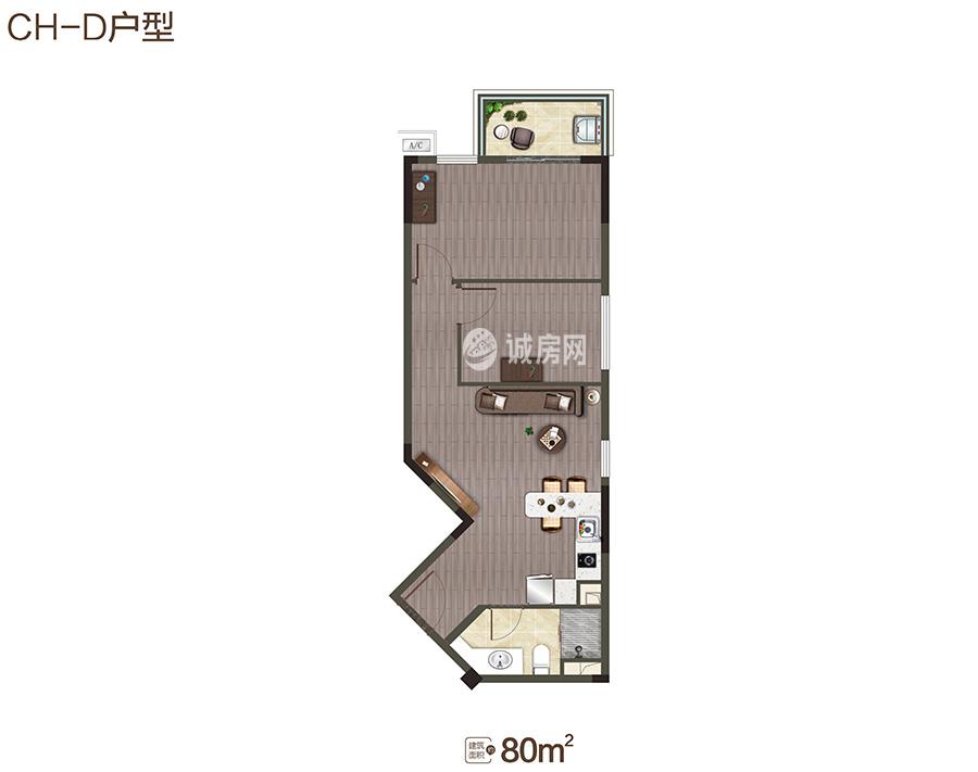 中海神州半岛2房2厅1卫 (建筑面积:80.00㎡)