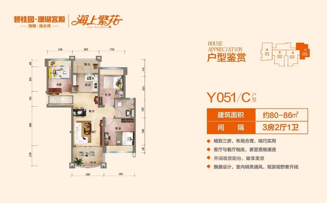碧桂园珊瑚宫殿C户型 3房2厅1卫 (建筑面积:80.00㎡)
