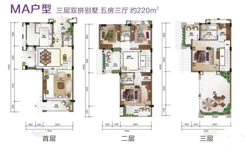 富力盈溪谷5房3廳 (建筑面積:220.00㎡)