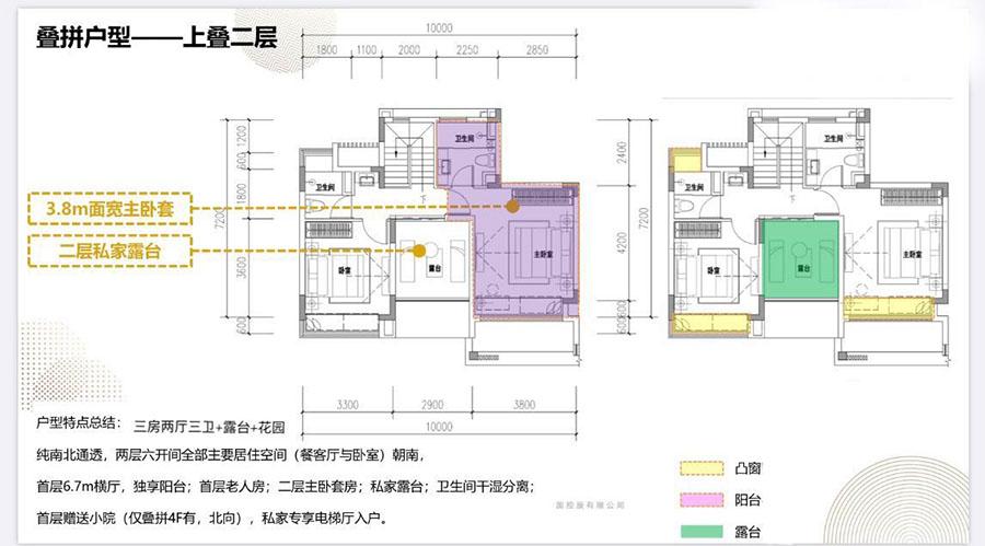 海南臻园3室2厅3卫+花园庭院+露台 (建筑面积:127.02㎡)