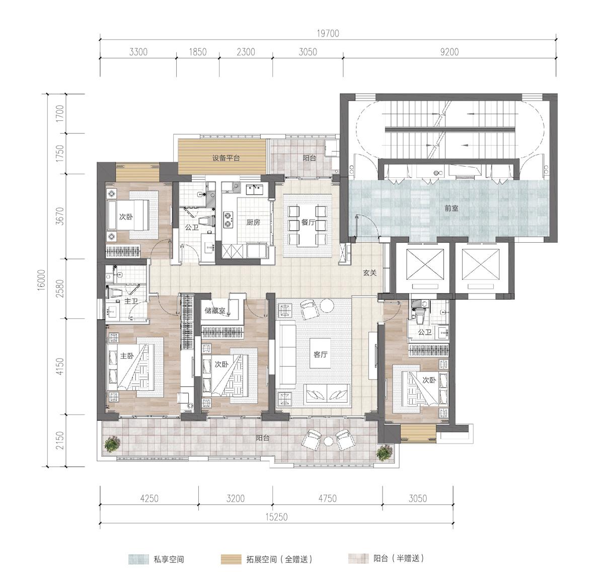 富力首府4室2厅3卫 (建筑面积:200.00㎡)