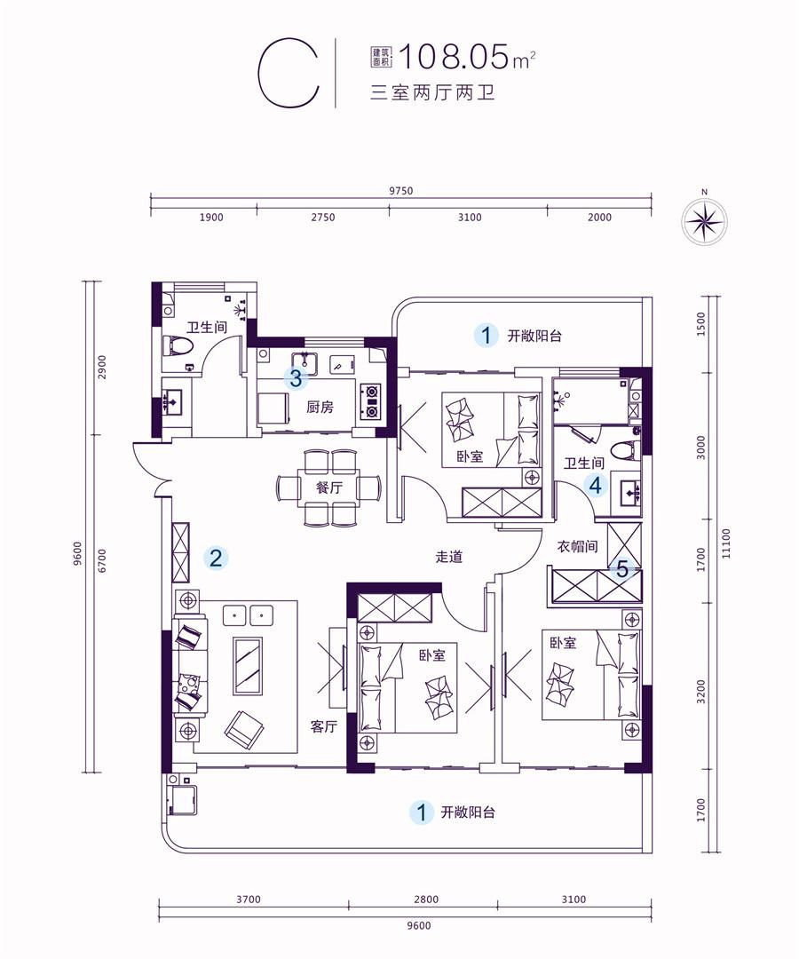 名门海宝湾三室两厅两卫