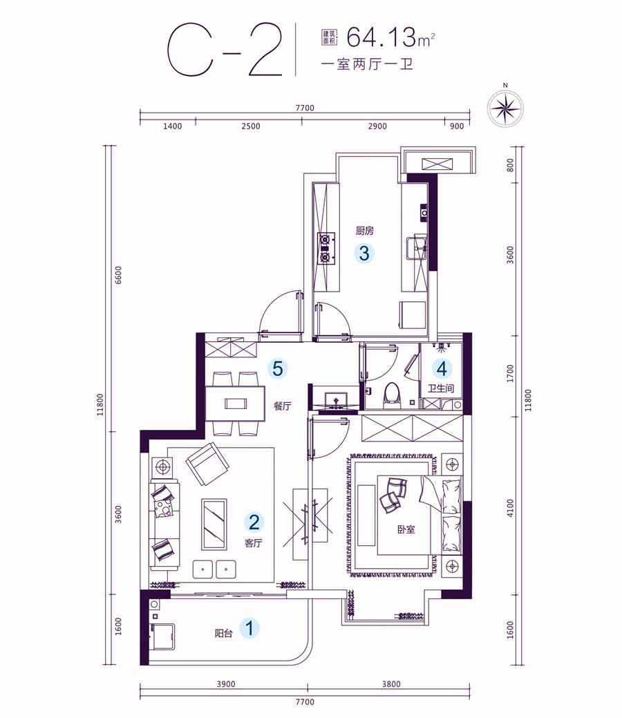 名门海宝湾一室两厅一卫