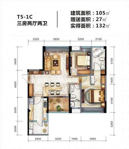 金棕榈3室2厅2卫
