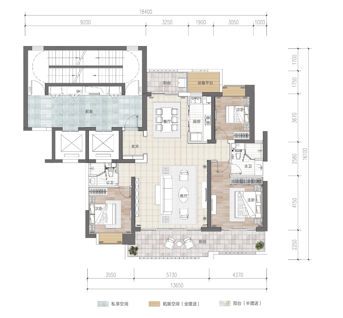 富力首府3室2厅2卫 (建筑面积:175.00㎡)
