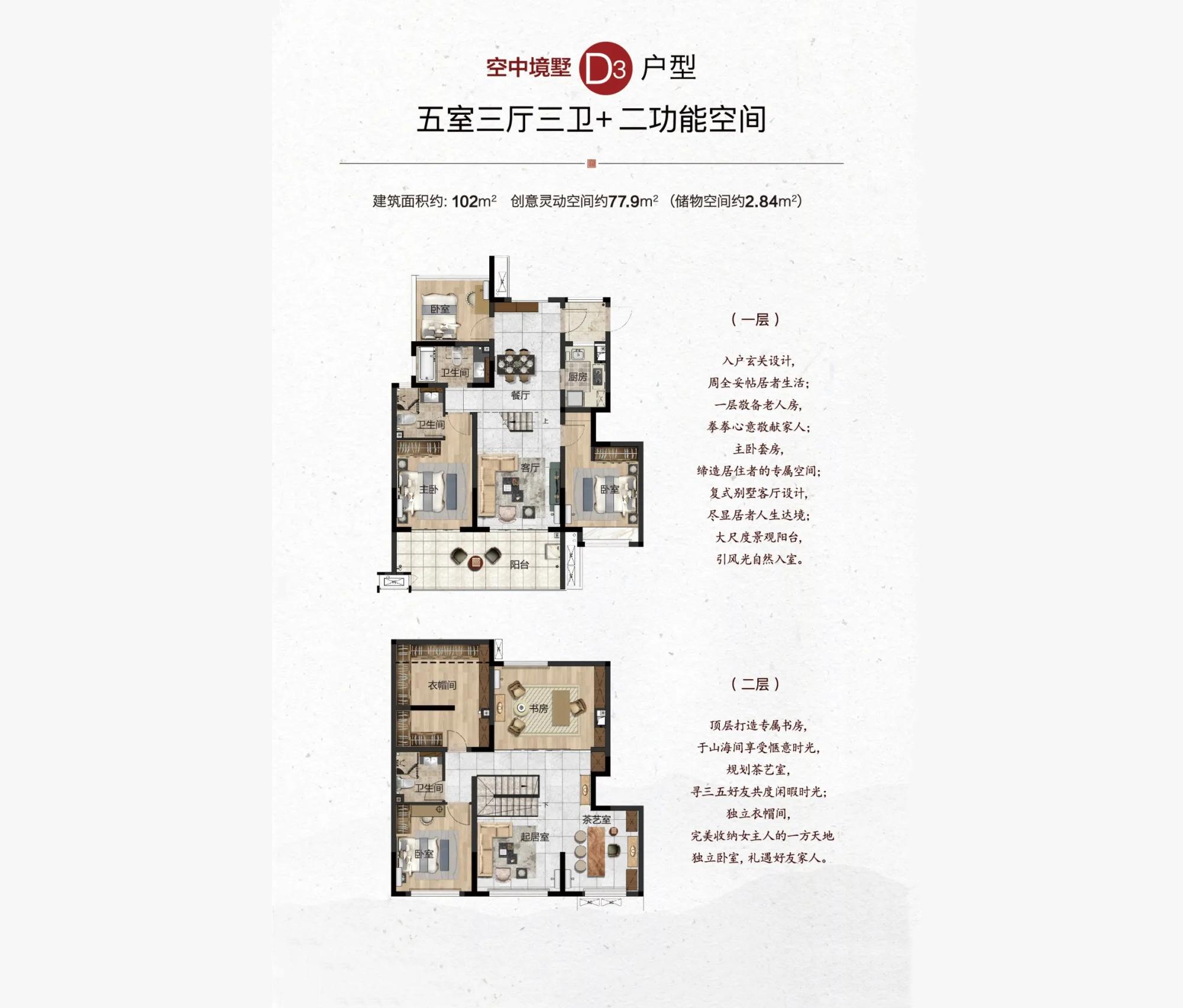 和泓海棠府5房3厅3卫2功能房 (建筑面积:102.00㎡)