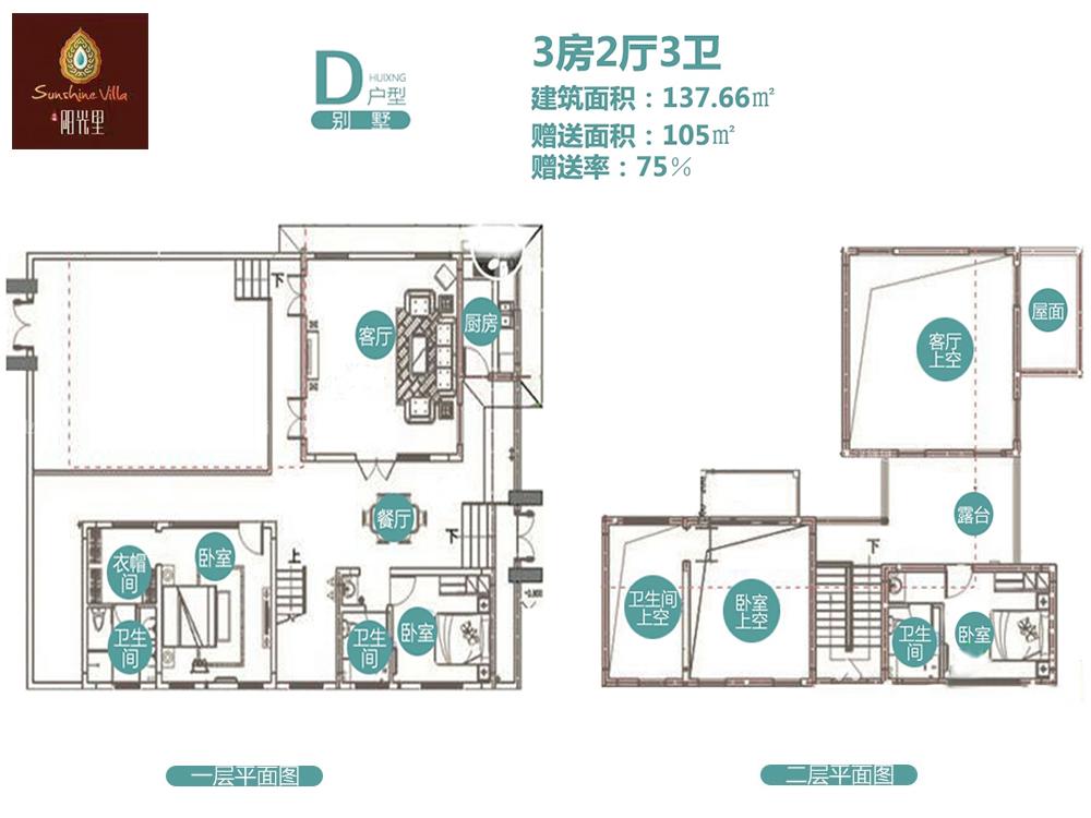 兴隆阳光里3房2厅3卫1厨 (建筑面积:137.00㎡)