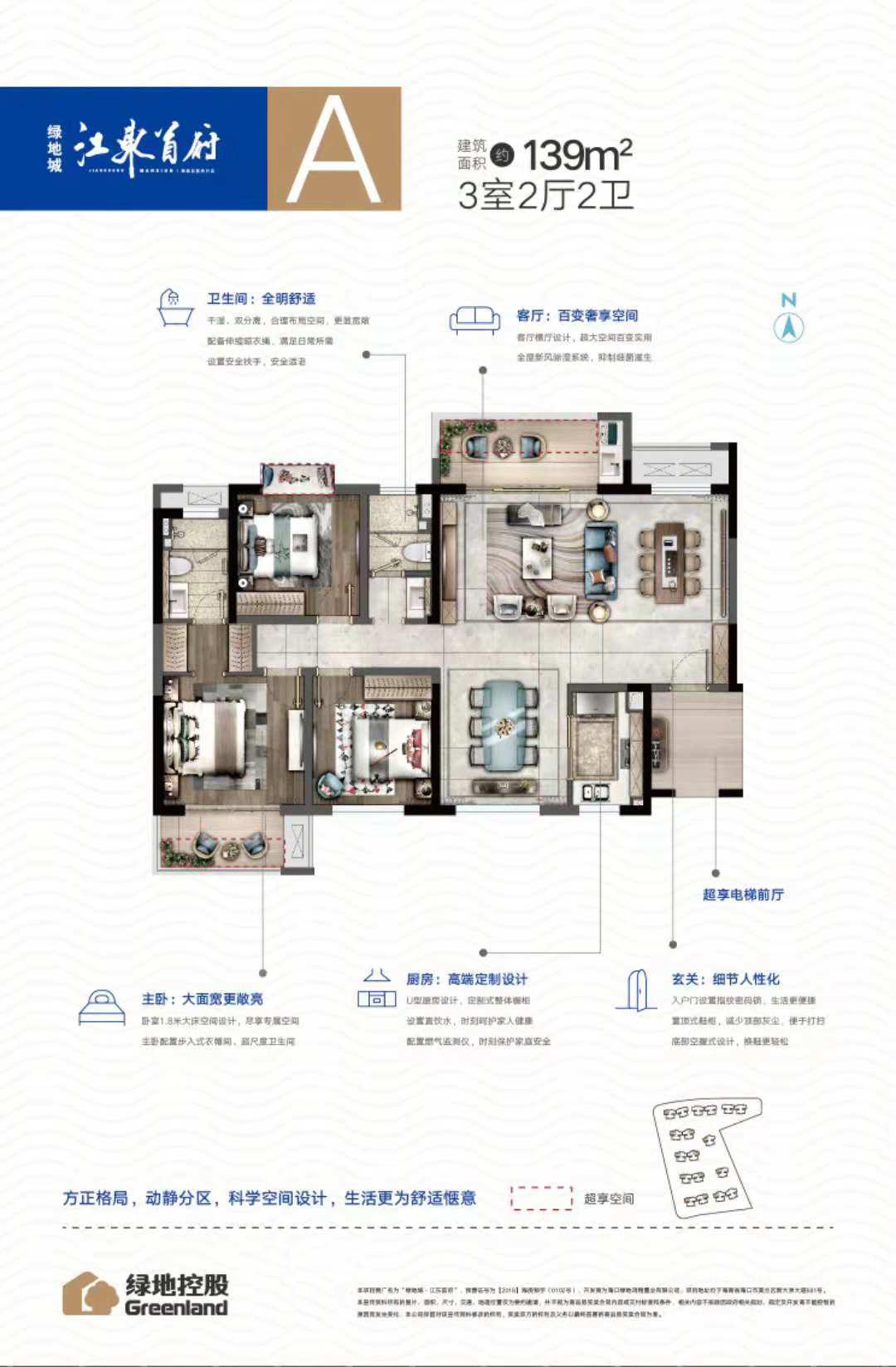 绿地城江东首府3室2厅2卫 (建筑面积:139.00㎡)