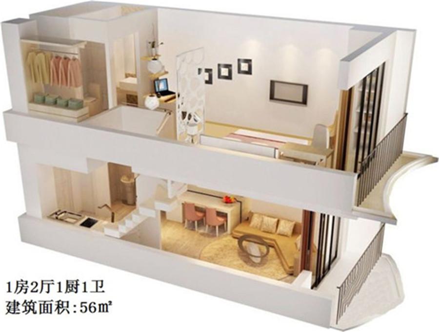 龙禧湾偶寓1房2厅1厨1卫 (建筑面积:56.00㎡)