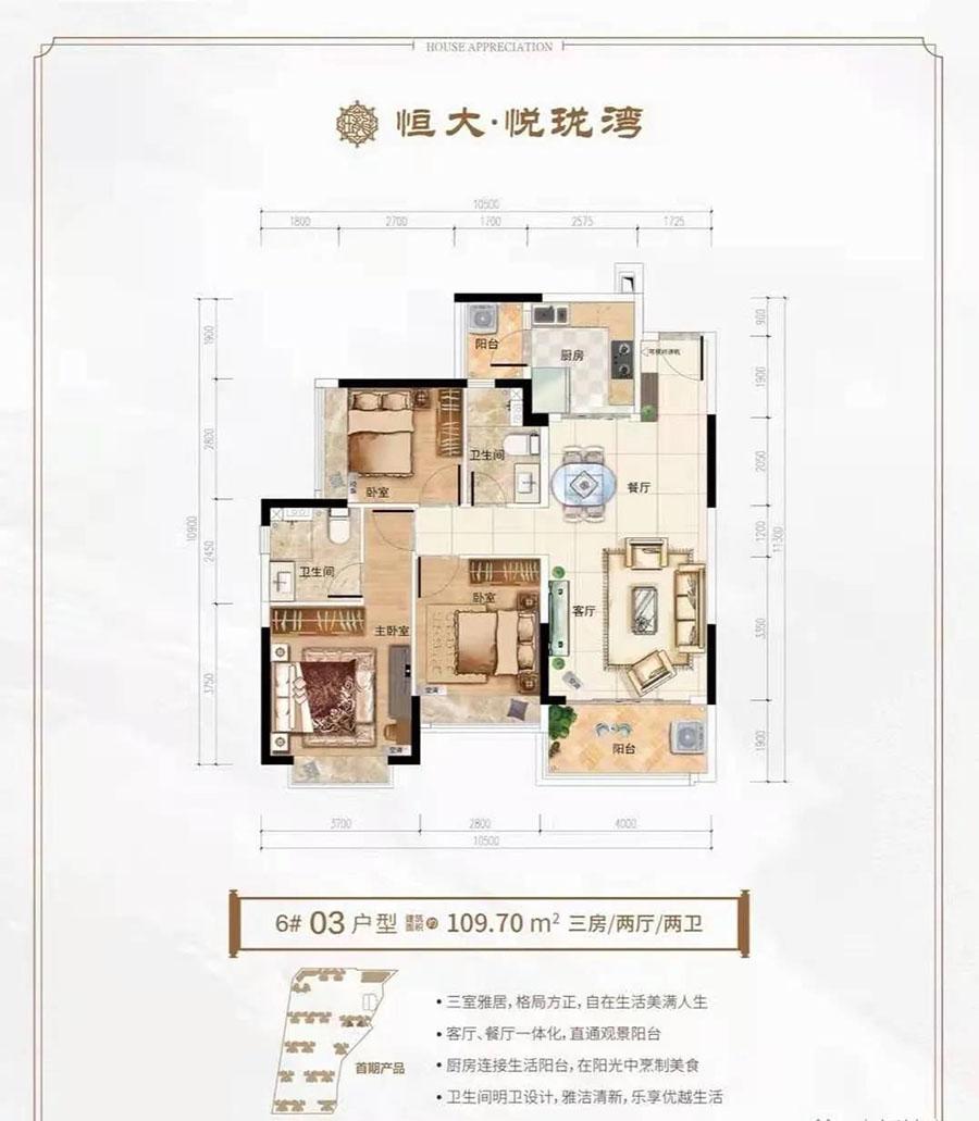 恒大悦珑湾3房2厅2卫 (建筑面积:109.70㎡)
