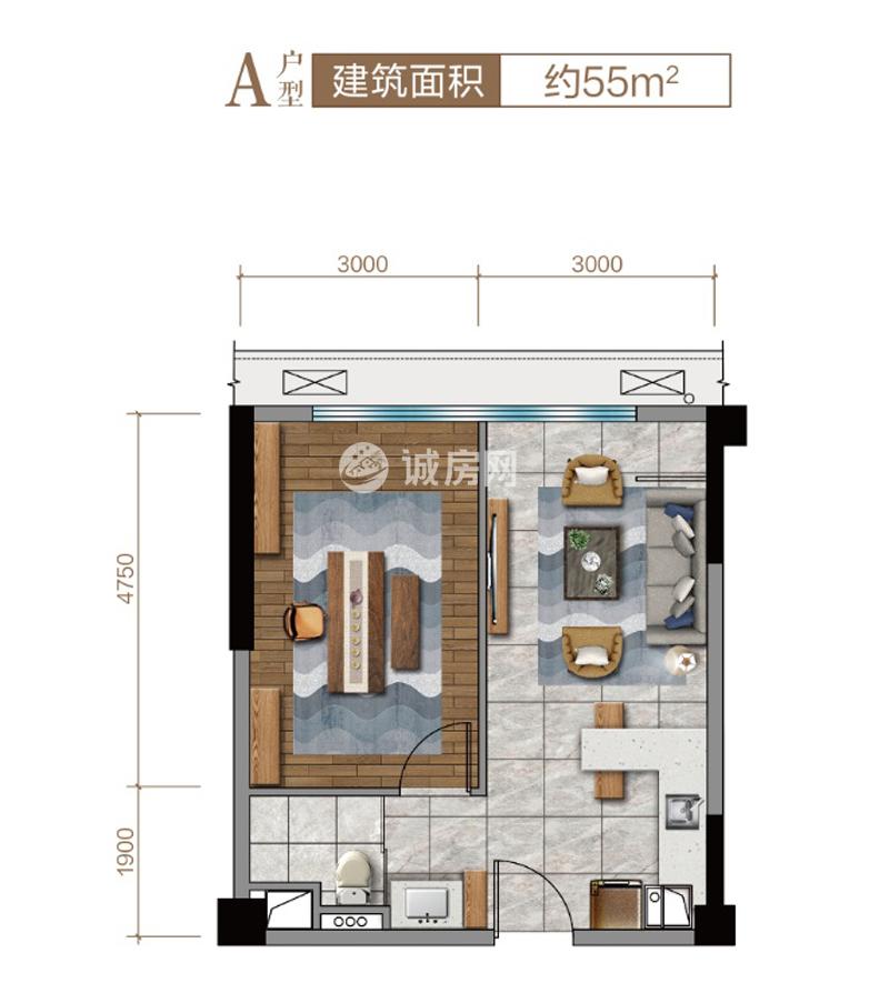 碧桂園西部中心1室1廳1廚1衛